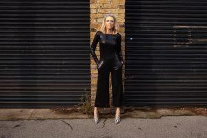 66de79f302 Audrey Black sequin Rock The Jumpsuit   Weldi Natural snake Print ankle  boots Moda in Pelle